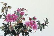 Art pictural (Virginia Lloyd-Davies) / Peinture d'inspiration japonaise (fleurs, oiseaux, paysages)