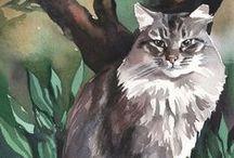 Peintre (Yuliya Podlinnova) / Artiste russe peintre de chats