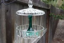 Garden ►☼Bird Feeders and Baths☼◄ / DIY Bird Feeders made from glassware and other objects / by Tina Marie Proctor