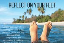 Reflect on Your Feet / November is Diabetes Awareness Month. As many of you may or may not know, diabetes can lead to several foot disorders like neuropathy, diabetic foot ulcers, and even lower-limb amputations. Follow our board to find out how you can decrease your risk of lower-limb amputations and keep your feet happy and healthy!