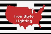 Iron Style Lighting / Bold and strong. Iron items are dominated by heavy metal design. Features Rivets, chain links, ribbon metal strips and wrought iron. Sure, most lighting in all categories is metal, but IRON style is only for those items where the metal DOMINATES the design of the light.