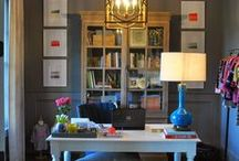 Home Office Decor / Decor ideas for a home office renovation featuring glam but practical and colorful style.