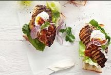 Burgers / Delicious burgers featuring beef, lamb, chicken and vegetarian patties