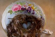 Teacup Paintings by JEANNE ILLENYE