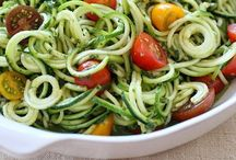 Recipes: Zoodles / Veggie noodle recipes, zucchini, squash, potatoes, etc. All recipes use a spiralizer to cut up veggies! So fun!