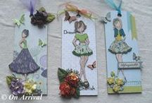 Prima Doll Wall Hangings / A large wooden tag decorated & embellished with assorted paper, ribbon and gems and a stamped &  hand coloured Julie Nutting Prima doll. https://www.facebook.com/0narrival