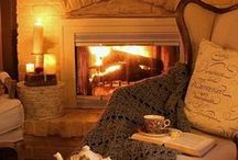 ROOMS | living rooms and fireplaces / Stay here. Alone, with friends, with family. Some comfy and warm places. A room inspiration board to match my style
