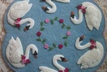 Penny Rugs / Wonderful collection of felt applique penny rugs, candle mats and table runners.