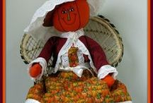 Pumpkin Doll & Craft Creations / I just LOVE handmade pumpkins of every size and type. Cloth, wood, porcelain, ceramic, paper-clay, paper, and painted  - it doesn't matter. Country ones, folk-art, Victorian, primitive, scary, pleasant - it doesn't matter. I LOVE them all. I hope you like my selection of pumpkins.