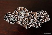 'Nautical', Sea-life, Ocean Stamps / Collection of 'nautical' themed hand carved Indian Wood Tjaps- all stamps beach, sea-life, ocean....!!