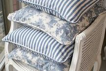 Ticking & Toile / Beautiful decor that incorporates classic elements of ticking and toile fabric in a timeless or modern way.
