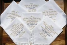 Wedding Handkerchiefs By CanyonEmbroidery.ETSY.com ❤ / Personalized Wedding Hankies.  Your saying in your wedding colors!  www.CanyonEmbroidery.ETSY.com Your personalized wedding keepsake!