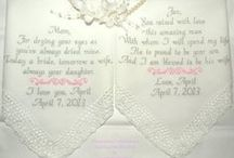 Weddings   / Embroidered Wedding Handkerchiefs by Canyon Embroidery on Etsy Make your wedding extra special by getting your handkerchiefs personalized! They make wonderful gifts for the Mother & Father of the Bride & Groom. And wedding party. ❤