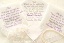 Wedding Vows & Poems Embroidered on a Handkerchief / Wedding Gift Your Wedding Vows, Wedding Song or Your Favorite Poem Embroidered on a Keepsake Wedding hankie Embroidered Wedding Handkerchiefs by canyon Embroidery Make your wedding extra special by getting your handkerchiefs personalized! They make wonderful gifts for the Mother & Father of the Bride & Groom. And wedding party. ❤