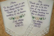 Mother of the Bride / Embroidered Wedding Handkerchiefs, by Canyon Embroidery Wedding Gift, Make your wedding extra special by getting your handkerchiefs personalized! They make wonderful gifts for the Mother, Father of the Bride, Groom. And wedding party. ❤