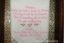 Flower Girl Wedding Handkerchief / Embroidered Wedding Handkerchiefs by Canyon Embroidery Embroidered Wedding Handkerchiefs, Make your wedding extra special by getting your handkerchiefs personalized! They make wonderful gifts for the Mother, Father of the Bride & Groom. And wedding party. ❤ #wedding #flowergirlgift #gift