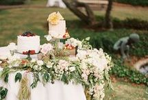 cake and dessert table flowers
