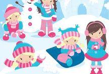 ❤️ Snow Fun Girls /  ❤️Prettygrafik❤️