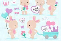 ❤️ Bunnies in Love 2 / Graphos clipart
