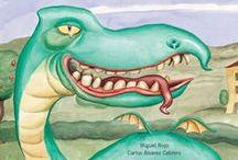 El dinosaurio, el príncipe, la niña y su mamá / ¿Qué harías si te tropezaras en la boca de un dinosaurio una muela con corona que en realidad es un príncipe encantado?  Miguel Rojo, ilustrado por Carlos Álvarez Cabrero