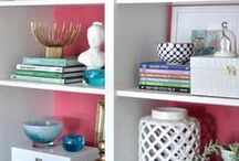 Home Decor {Bookcase & Coffee Table Styling} / Bookshelf and coffee table styling
