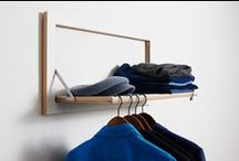 Fläpps Clothes Rail Hängrail / A combined shelf and clothes rail.  Although at first glance this would appear to be a standard Fläpps shelf, on closer inspection it doubles as a clever clothes rail.  When folded, only one thin slot draws the attention to the hidden function.