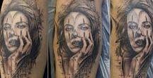 realistic tattoo / tattoo realistic, watercolour, trash polka