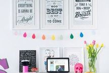 My New Office Inspiration and DIY Decor / Ideas for colourful decor and pops of colour over textured white backgrounds, walls and floors. Fun office decoration, colourful office organisation, DIY ideas and decor.
