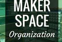 Makerspace - Organization / With all the loads of technology, arts and crafts supplies and other tools in our makerspaces, finding a cohesive way to organize everything is essential.  Taking a page from shops and arts and crafts studios, these pins on here are sure to inspire some amazing organizational ideas for your classroom, library, makerspace or any place where students are making.