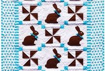 Easter quilts / Easter eggs, bunnies, tulips, carrots and spring garden quilts