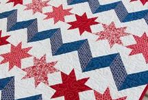 Red, white and blue quilts / Also see our free pattern archive for patriotic quilts at:  QuiltInspiration.blogspot.com