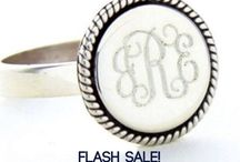 Flash Sale - Special offers for one week only / Flash sale announcements and coupon codes for shopping monogram jewelry and gifts at carolinaclover.com Monogram Everything! / by Carolina Clover