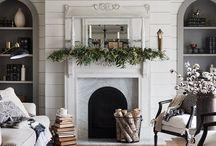 Fireplace, bookshelf decor