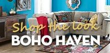 Boho Haven / An amazing mix of colours and patterns in this room. Enjoy your haven with the untamed Bohemian look featuring unique metal artwork, textures ,rustic wood and classic seating. Bring your inner gypsy to life!