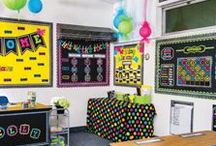 Chalkboard Brights Classroom Decorations / The Chalkboard Brights Collection is a modern take on the classic chalkboard themed classroom. Teachers love the bright neon colors that make this design pop. Create a custom display with coordinating border trim, accents, bulletin board sets and more.