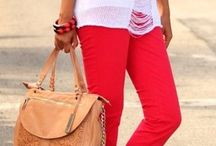 red pants outfits / How to wear red pants ideas / by Lee Anne Bourque