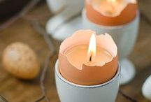 Easter Decor Ideas / All the best spring decor: candles, colored eggs, and bunnies!