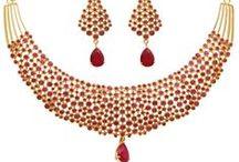 Ruby Alloy Necklace Set