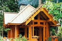 """Cabin and Cottage / """"There are elements of intrinsic beauty in the simplification of a house built on the log cabin idea.""""  -  Gustav Stickley / by Marilyn McDonald"""