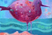 Fantasy Birds / My colourful, intuitive bird paintings. / by Debra Wenlock Art