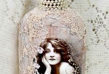 Altered Bottles & Jars / Jars decorated in lace, jewels and images...gorgeous to use in so many ways ~