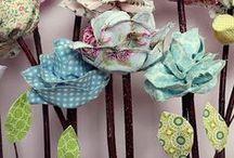 Ribbon, fabric, paper flowers