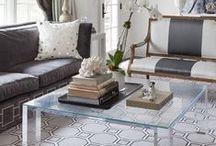 Cozy Living Room / Navy, Blue, Medium Gray, Cream, & Wood