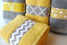 Bright Bathroom  / Yellow, Light Gray, Navy, & White.