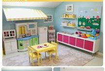 Girls Room / playroom ideas, shelves, chairs, toys. Paint color, bedroom layout