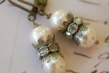 Jewelry - French Romance / Classic with a touch of vintage featuring rhinestones, brass filigree, pearls, fleur de lis, wax seals, romantic ephemera, tokens, medals, chandelier crystals.