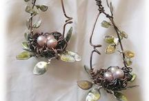 Jewelry - Birds / Feathered friends and speckled eggs in shades of aqua and gray/silver.