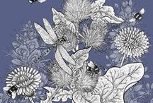 Sharon's Drawings / Illustrations depicting the bees and flowers that adorn Beefayre products. All hand drawn by Sharon Jervis.
