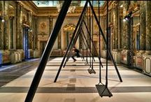 Caesarstone @ Milan 2015 / Movements Philippe Malouin, a two part installation situated within the halls of the 18th century Palazzo Serbelloni. The grand hall houses an interactive installation made out of an 8-piece swing-set. The adjacent room hosts a handmade group of planters that documents Malouin's process of experimentation with material and technique.