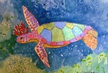"""Dreams of the Turtle King - Watercolor Illustrations Poetry Book / """"Dreams of the Turtle King"""" is a book of beach poems written by Denise Bossarte and illustrated by Nancy Standlee. Publication date was December 7, 2013 on Amazon. There are 24 beach related paintings to illustrate the poems. Our blog will chronicle our progress. The paintings are available at my online gallery: http://www.dailypaintworks.com/Artists/nancy-standlee-1131 http://dreamsoftheturtleking.blogspot.com   / by Nancy Standlee"""